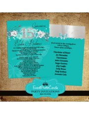 Teal & Silver Butterfly Quinceanera