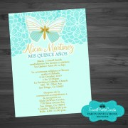 Butterfly Turquoise Aqua Quinceanera Invitations