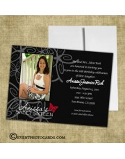 Black Butterfly Invitations - Photo Quinceanera