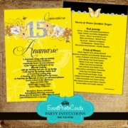 Black & Yellow Bumbleblee Quinceanera Invitations