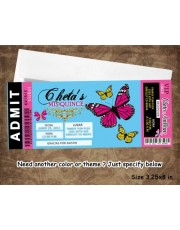 Aqua & Pink Butterfly Quinceanera Invitation Ticket