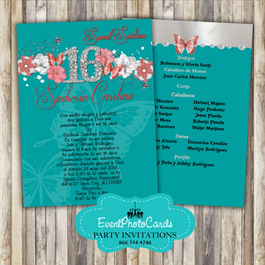 Teal Coral Butterfly Sweet 16th Sweet Sixteen Birthday Invitations