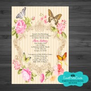 Butterfly Floral Sweet Fifteen Birthday Invitations