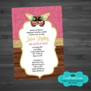Butterfly Gold Pink Quinceanera Invitations