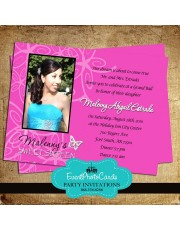 Hot Pink Butterfly Invitations - Photo Sweet 16