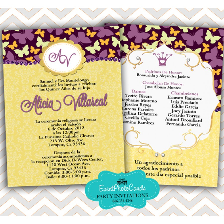 Purple & Yellow Quinceanera Invitations - Butterfly - MIs Quince ...