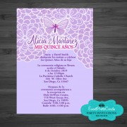 Butterfly Light Purple  Quinceanera Invitations
