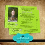 Butterfly Invitations Lime Green - Photo Sweet 15