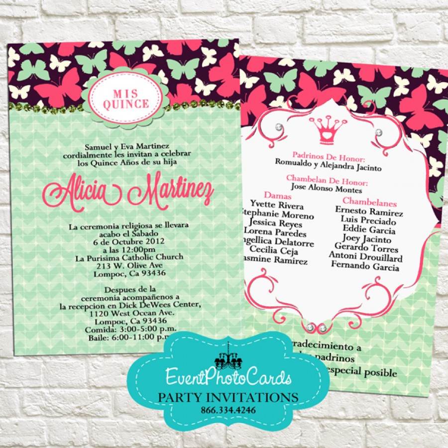Mint and Pink Butterfly Invitations - MIs Quince, Sweet Sixteen ...