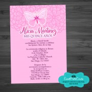 Butterfly Light Pink Fuschia Quinceanera Invitations