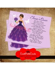 Purple Doll Quinceanera Invites