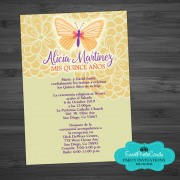 Butterfly Yellow Floral Quinceanera Invitations