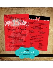 Red & Black Butterfly Quinceanera