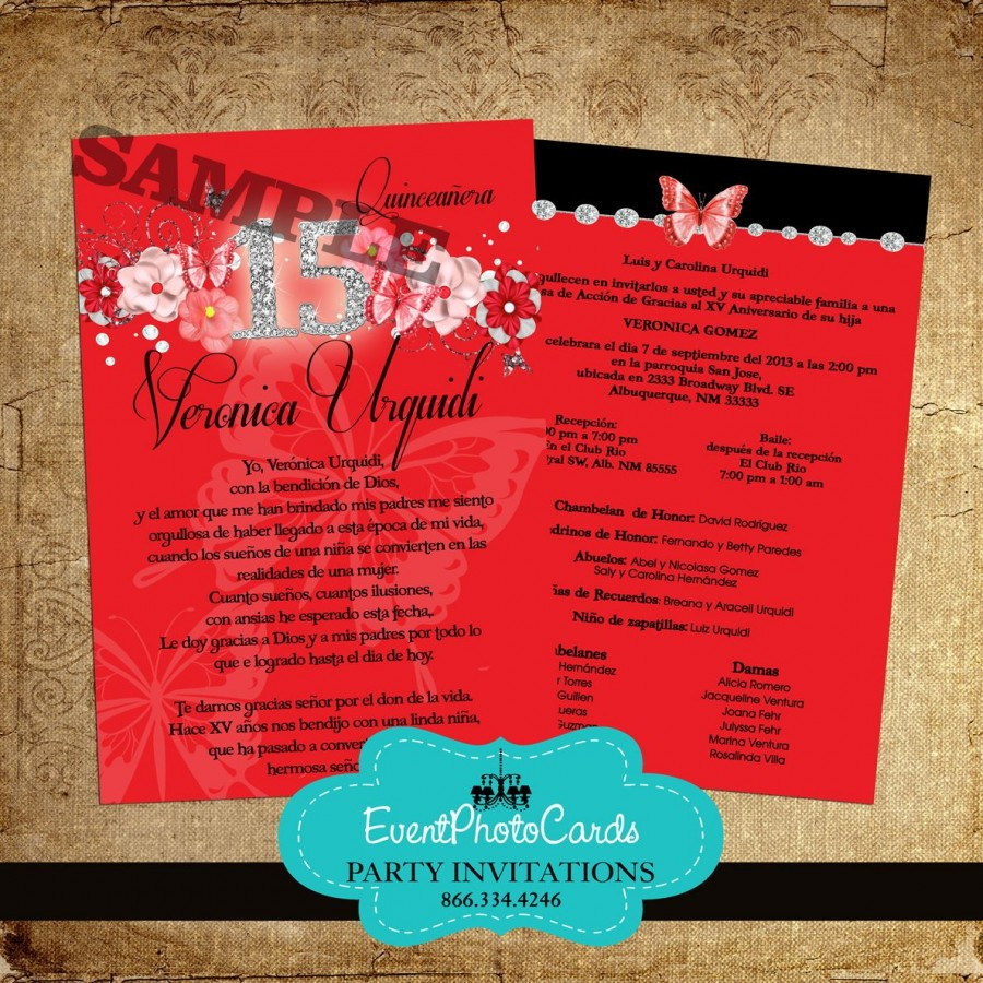 Red & Black Butterfly Quinceanera Invitations Unique