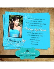 Butterfly Invitations Turquoise   - Photo Sweet 15