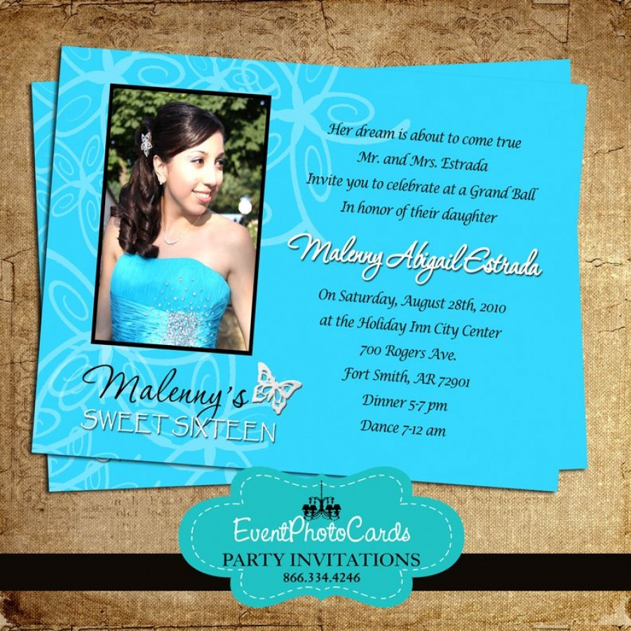Turquoise Butterfly Invitations Photo Sweet 15