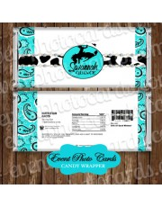 Cowgirl Aqua Bandanna Quinceanera Candy Wrapper