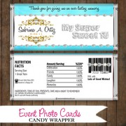 Pastel Blue Bling - Quinceanera Candy Wrapper