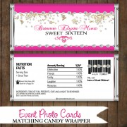 Butterfly Pink Candy Wrapper - Sweet 16