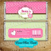 Light Mint Pink Candy Wrapper - Sweet 16