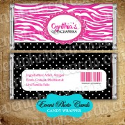 Pink Zebra Quinceanera Candy Wrapper - Sweet 15