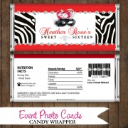 Red Zebra Mask  - Quinceanera Candy Wrapper