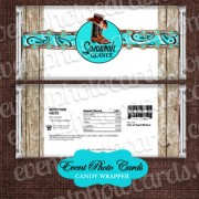 Boots Rustic Aqua Candy Wrapper -Wedding