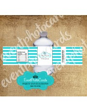 Stripes Teal  Quinceanera Water Bottle Label