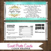 Aqua Teal Invitation Quinceanera Candy Wrapper