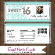 Teal Photo Sweet 16  - Quinceanera Candy Wrapper