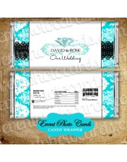 Diamond Turquoise Wedding Candy Wrapper