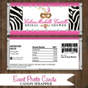 Zebra Mask Pink - Quinceanera Candy Wrapper