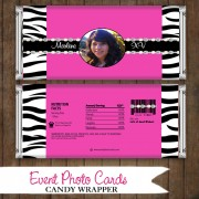 Zebra Photo Pink - Candy Wrapper Quinceanera