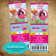 Candyland Ticket Photo  Invitations 1516