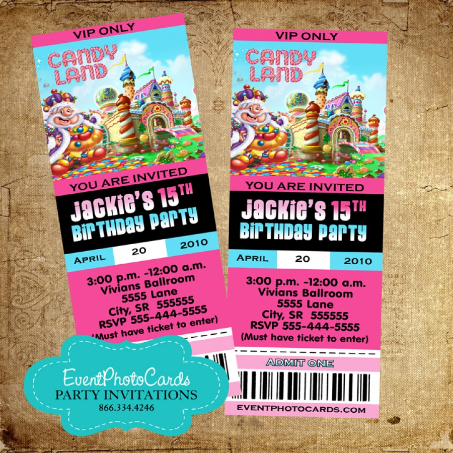 Candyland Ticket Invitations 1516 Candy Land Pass Announcements