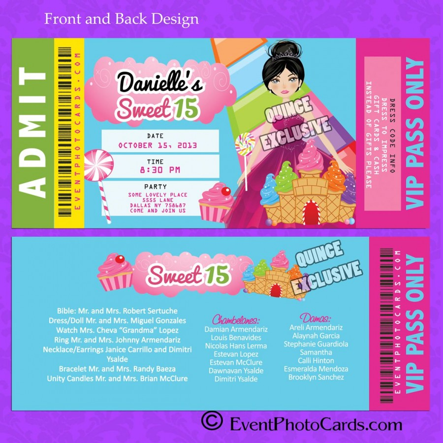 candyland ticket sweet 15 invitation announcement