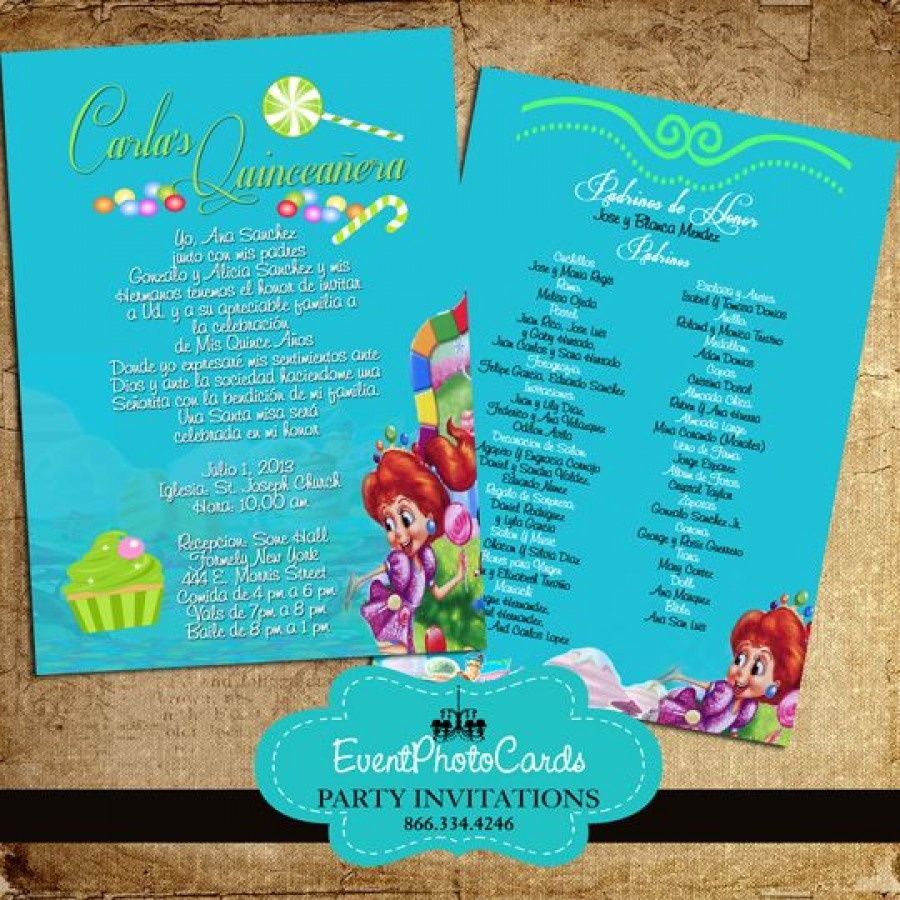 Teal Candyland Invitations - Quinceanera with Padrinos in ...