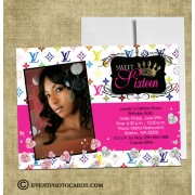 Louis Vitton inspired Sweet 16 Invitations