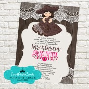 Chocolate  Charra Jaripeo Quinceanera Invitations