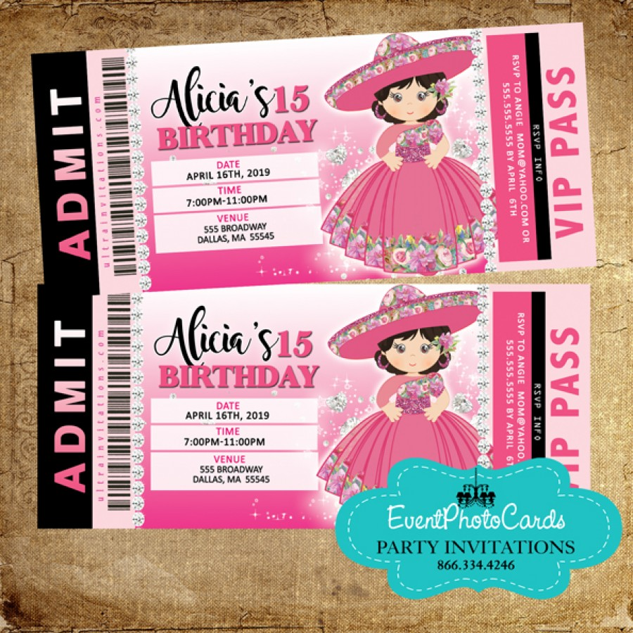 Floral Charro Western Quinceanera Invitations - Ticket ...