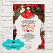 Red Mexican Style Western  Quinceanera Invitations