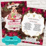 Red Roses Floral Mariachi Sweet Fifteen Invitations