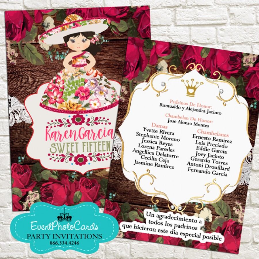 Red Roses Floral Mariachi Sweet Fifteen Invitations Sweet