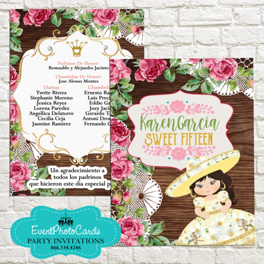 Invitaciones Amarillo Mariachi Charro Style - Quinceanera Sweet 15th , Sweet Sixteen or Quinceanera