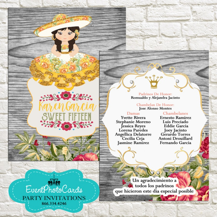 Yellow Charro Dress Invitations Style - Quinceanera - Sweet 15th , Sweet Sixteen or Quinceanera