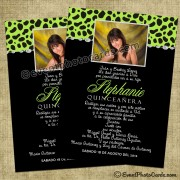 Green  Quinceanera Cheetah Photo Personalized
