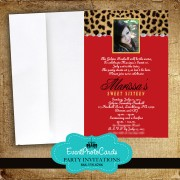 Red Leopard Sweet Sixteen  Photo Invites