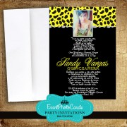 Yellow Cheetah Photo Invites -Sweet 15