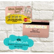 Coral Gold Sweet 16 Invitations Credit Card