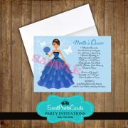 Princess Quinceanera Blue Doll Invitation